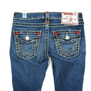 True Religion Joey Super T Jeans Flare Flap 25 x32